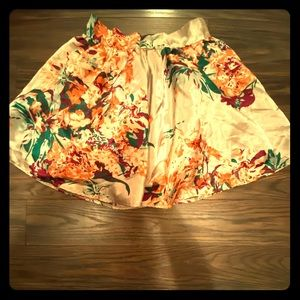 Charlotte Russe floral print silk skirt